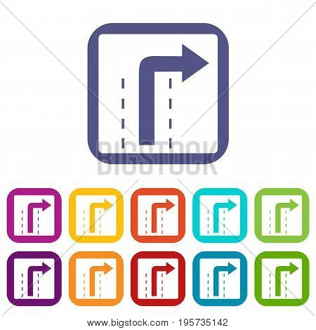 Turn right traffic sign icons set vector illustration in flat style In colors red, blue, green and other