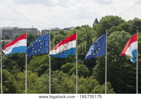 Luxembourg And Eu Flags