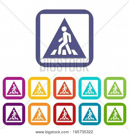Pedestrian road sign icons set vector illustration in flat style In colors red, blue, green and other