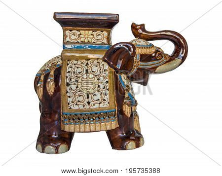 Rare porcelain elephant from China on a white background.