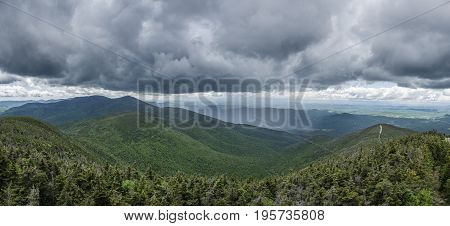 Panoramic View From Cannon Mountain With Storm Clouds