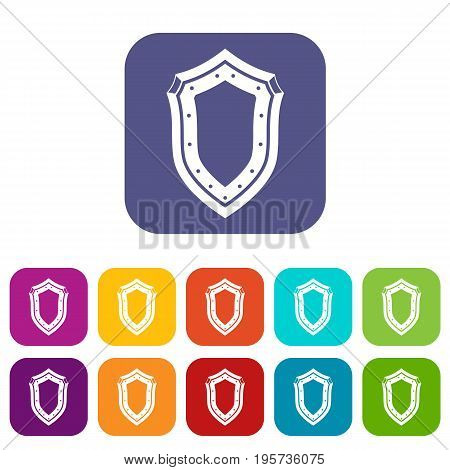 Shield icons set vector illustration in flat style In colors red, blue, green and other