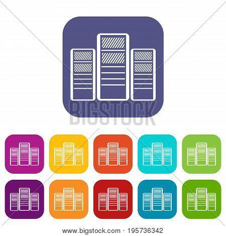 Database servers icons set vector illustration in flat style In colors red, blue, green and other