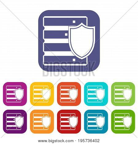 Database with shield icons set vector illustration in flat style In colors red, blue, green and other