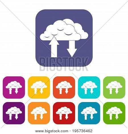 Clouds with arrows icons set vector illustration in flat style In colors red, blue, green and other