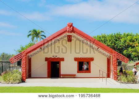 Honolulu Hawaii - May 27 2016:A Maori meeting house inside the Aotearoa Village at the Polynesian Cultural Center.