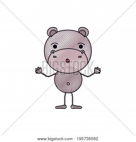 color crayon silhouette caricature of cute hippopotamus astonished expression vector illustration