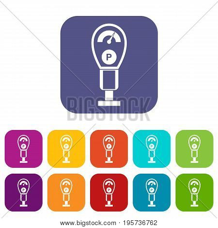 Parking meters icons set vector illustration in flat style In colors red, blue, green and other