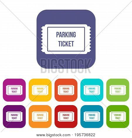 Parking ticket icons set vector illustration in flat style In colors red, blue, green and other