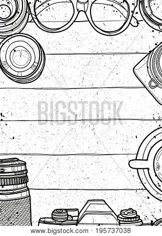 Hand Drawn Vector Illustration ,top View Of Retro Camera And Lens, Set Of Cool Photography On Backgr