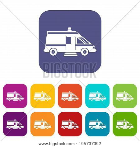 Ambulance icons set vector illustration in flat style In colors red, blue, green and other