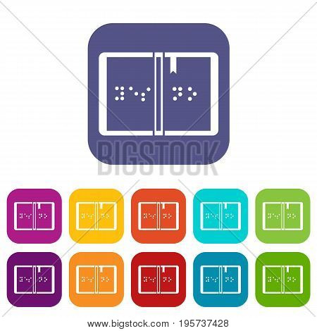 Braille icons set vector illustration in flat style In colors red, blue, green and other