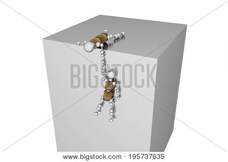 Two robots, one lies on the roof and holds another, which hangs on the wall. 3D rendering.