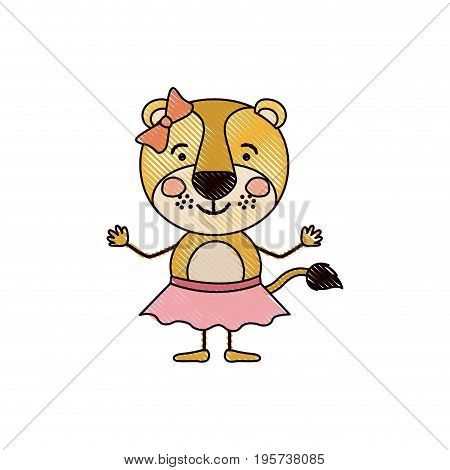color crayon silhouette caricature of cute expression lioness in skirt with bow lace vector illustration
