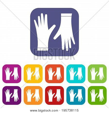 Protective gloves icons set vector illustration in flat style In colors red, blue, green and other