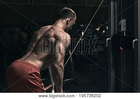 Back view of young bodybuilder working out in the gym, the image was desaturated an toned