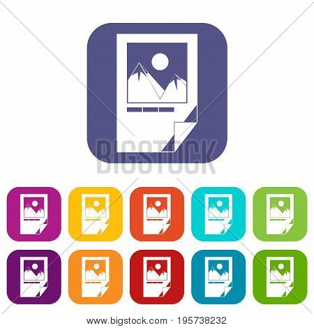 Tested ink paper with printer marks icons set vector illustration in flat style In colors red, blue, green and other