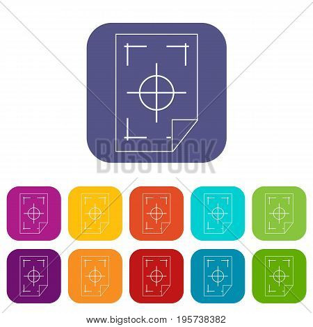 Printer marks on a paper icons set vector illustration in flat style In colors red, blue, green and other