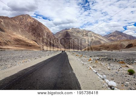 Road through Nubra Valley between Ladakh and Karakoram mountain ranges