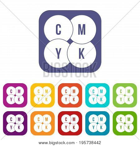 CMYK circles icons set vector illustration in flat style In colors red, blue, green and other