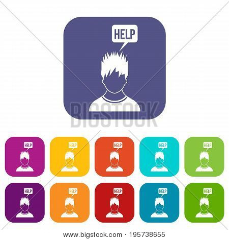 Man needs help icons set vector illustration in flat style In colors red, blue, green and other