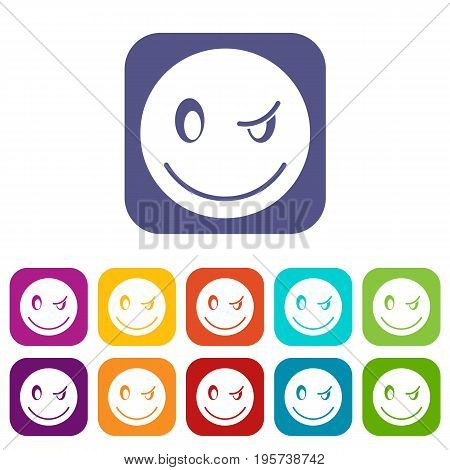 Eyewink emoticons set vector illustration in flat style In colors red, blue, green and other