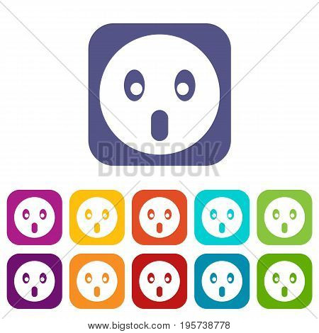 Frightened emoticons set vector illustration in flat style In colors red, blue, green and other