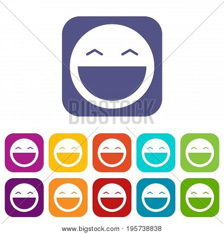 Laughing emoticons set vector illustration in flat style In colors red, blue, green and other