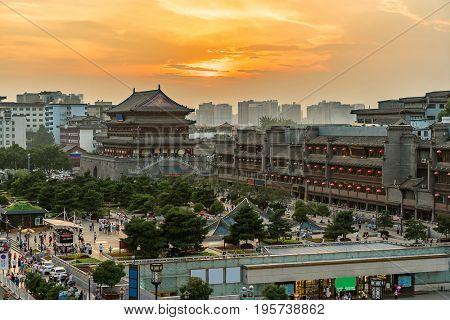Xian drum tower (guluo) in Xian ancient city of China sunset