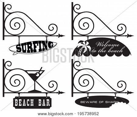 Pointers for a beach holiday: beach bar carefully sharks surfing and welcome to the beach