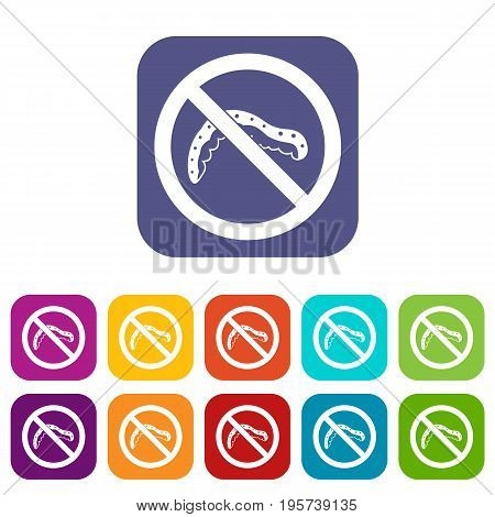 No caterpillar sign icons set vector illustration in flat style In colors red, blue, green and other