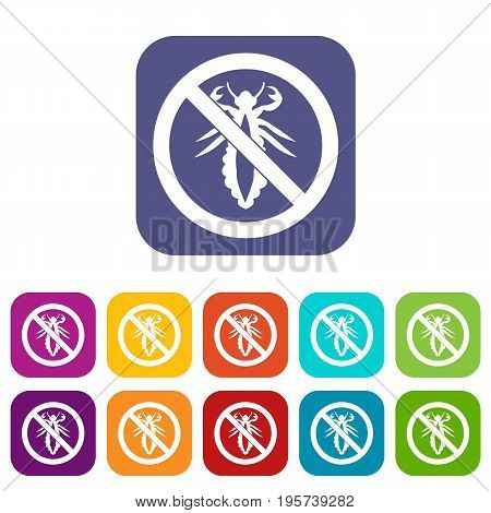 No louse sign icons set vector illustration in flat style In colors red, blue, green and other