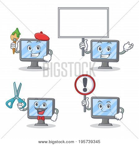 Set of monitor character with artist bring board barber and sign vector illustration