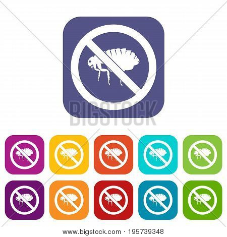 No flea sign icons set vector illustration in flat style In colors red, blue, green and other