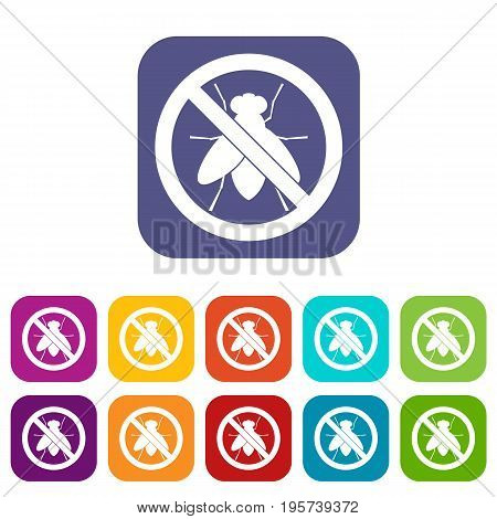 No fly sign icons set vector illustration in flat style In colors red, blue, green and other