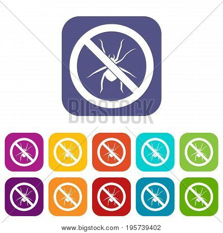 No spider sign icons set vector illustration in flat style In colors red, blue, green and other