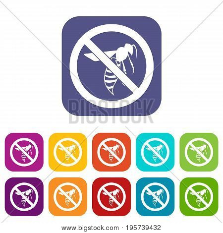 No wasp sign icons set vector illustration in flat style In colors red, blue, green and other