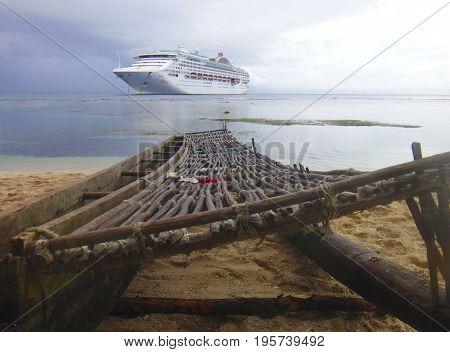Cruise Ship From The Beach Of Kiriwina Island, Papua New Guinea.
