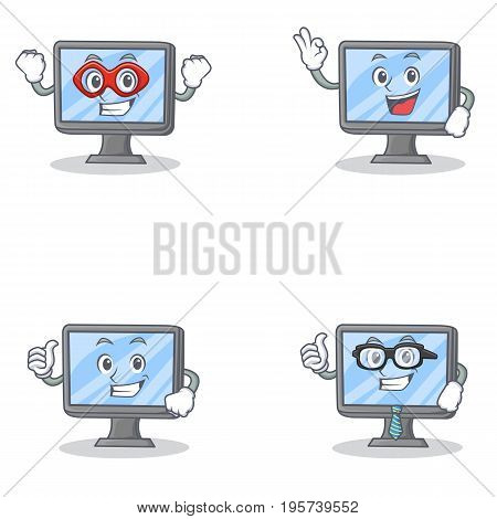 Set of monitor character with hero okay proud and businessman vector illustration