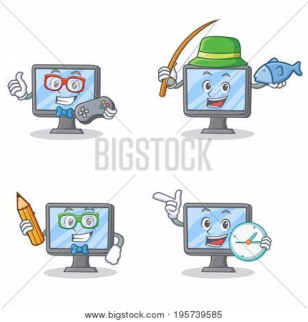 Set of monitor character with gamer fishing school and clock vector illustration
