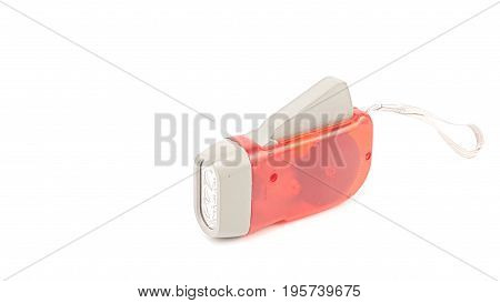 Led Flashlight Red Plastic Holder With Hand Rope