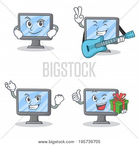 Set of monitor character with smirking guitar successful gift vector art