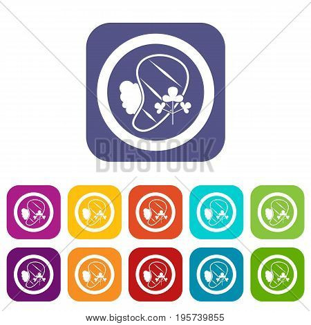 Steak icons set vector illustration in flat style In colors red, blue, green and other