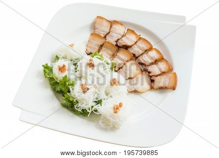Grilled pork with noodle or Banh hoi (Vietnamese food)on plate isolated on white background.