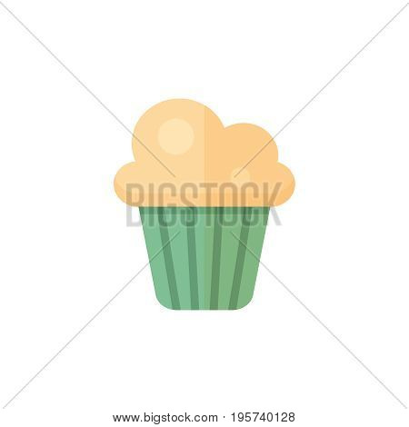 Flat muffin icon. Vector illustration isolated on a white background. Simple color pictogram of muffin.
