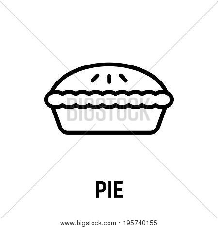 Thin line pie icon. Vector illustration isolated on a white background. Simple outline pictogram of pie.