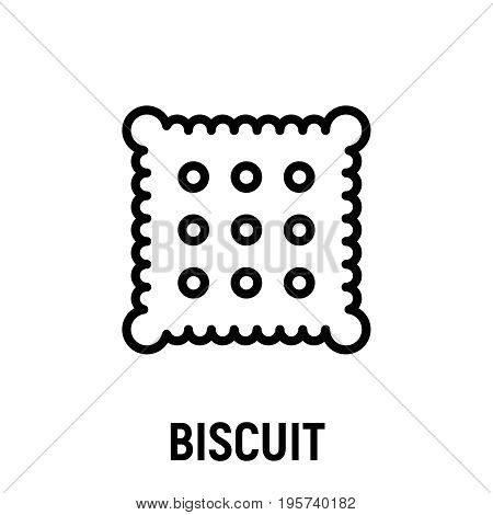 Thin line biscuit icon. Vector illustration isolated on a white background. Simple outline pictogram of biscuit.