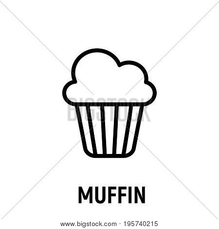 Thin line muffin icon. Vector illustration isolated on a white background. Simple outline pictogram of muffin.