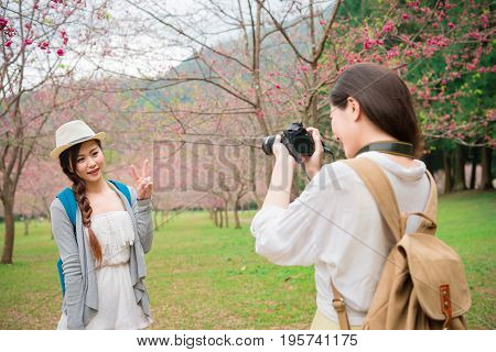 Asian Woman Taking Photo Pictures