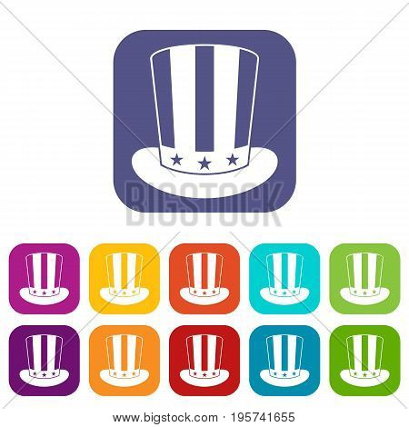 American hat icons set vector illustration in flat style In colors red, blue, green and other
